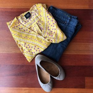 Flowy Yellow Top with Crossover Front
